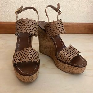 Tory Burch Daisy Cork Wedges NWOT